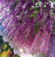 1.1 미터 긴 우아한 인공 실크 꽃 등나무 포도 나무 웨딩 센터 피스 장식용 꽃다발 화환 집