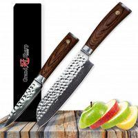 GRANDSHARP 2 Stücke Küchenmesser Set Santoku Gemüsemesser Set vg10 Japanischen Damaskus Küchenmesser 67 Schichten Japanischen Damaststahl