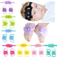 Baby Sandals Flower Shoes Cover Pearl Barefoot Foot+ Hair Ban...