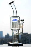 11 인치 토로 유리 봉 더블 팔 트리 인라인 Perc 유리 버블 러 튼튼한 고체 물 파이프 오일 장비 18mm 조인트