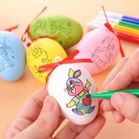 Creative Pâques recto-verso impression motif oeuf bricolage enfants fait main en plastique créatif graffiti couleur 6cm oeuf coquille 5pcs / ensemble TY7-291