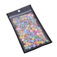 10x18cm / 4x7in 100pcs Tear Notch Matte Clair / Noir / Noir Mylar auto Joint en plastique sac de rangement plat Zip verrouillage sacs d'emballage