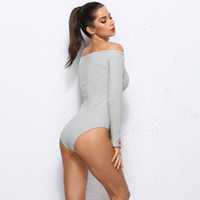 GAOKE Off Shoulder Bodycon Bodysuits Feminino Mujer Sexy Str...