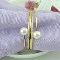 Элегантные свадебные салфетки для салфетки полые цветочные жемчужные металлические салфетки держатель пряжки крещении браслеты партии украшения