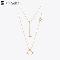 Enfashion Классический Узел Подвески Ожерелья Из Нержавеющей Стали Золотой Цвет Колье Ожерелье Для Женщин Длинная Цепь Ювелирные Изделия Колье