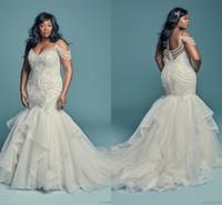 Impresionante 2019 sirena vestidos de novia con cuentas espagueti organza cristal vestidos nupciales más tamaño v cuello vestido nupcial vestido de fiesta formal africano