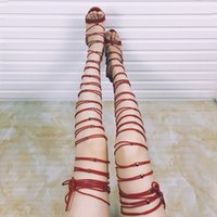 Free shipping Hot Sale Women Lace up Thigh High Heel Sandals...
