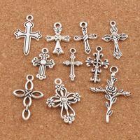 100 unids / lote diseño lindo flor de la flor de las cuentas del encanto de la cruz 10 estilos MIC tibetano plata colgantes joyería DIY hallazgos componentes LM45