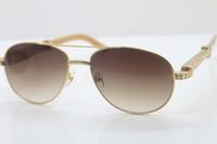 Sıcak Yeni Stil 569 Unisex Beyaz Hakiki Doğal Gözlükler Güneş 18K Gold Küçük Büyük Taşlar Gözlükleri sürüş gözlük C Dekorasyon altın mens