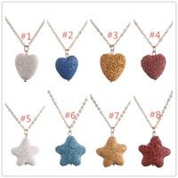 Moda banhado a ouro Starfish coração amor pedra de lava colar óleo essencial difusor colar de rocha vulcânica para mulheres jóias