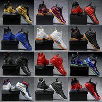 2018 дешевые лучший баскетбол обувь Пенни Hardaway Мужские спортивные кроссовки пены один баклажаны фиолетовый мужская корзина мяч обувь комфорт и поддержка