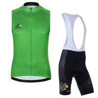 투어 드 프랑스 팀 사이클링 민소매 유니폼 (BIB) Maillot 반바지 세트 프로 의류 산 통기성 경주 스포츠 자전거 소프트 피부 친화적 인 42635