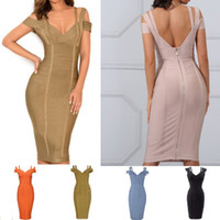 2018 New Women Bandage Dress Sexy Off the Shoulder Knee- Leng...