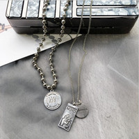 Hip hop jewelry designer necklace punk coin pendant sweather necklace metal for women exaggeration hot fashion