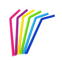 Reusable Silicone drinking Straw 6 colors bent straight styl...