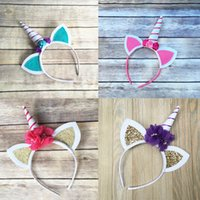 Girls Cute Unicorn Headband Cat' s Ear Flower Hairband K...