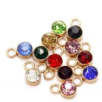 6mm en acier inoxydable Birthstone charms pendentif Mix Couleurs Strass Pour Fabrication de Bijoux Bracelet DIY Résultats de Bijoux