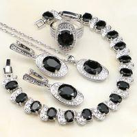 Zirconia cúbica negra piedras blancas 925 Conjuntos de joyería de plata esterlina para mujeres Pendiente de boda / colgante / collar / pulsera / anillo