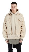 New Kanye High Street Beige Jackets Men Ripped Washed Oversi...