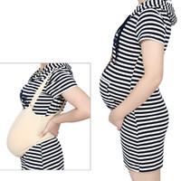 2-10 meses de embarazo Actores realistas trajes apoyos de la película falsa estómago vientre de silicona mujer embarazada con tirantes