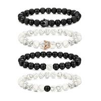 I suoi braccialetti Queen Her King Set Bracciale con perline di pietra naturale Bracciale per uomo Donna Bracciali con corone a distanza Set 8MM regolabile