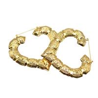 큰 대나무 후프 펑크 귀걸이 골드 패션 쥬얼리 유행 스타 하트 힙합 아내 여성용 대형 원형 라운드 귀걸이 2C0261