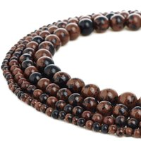 Natural Stone Beads Mahogany Obsidian Gemstone Round Loose B...