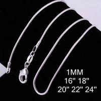 Alta calidad 1MM 16-24 pulgadas de 925 Serpiente de plata esterlina joyería de cadena del collar de la manera más barata de la serpiente envío libre del collar