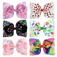 6 Designs JOJO Bow style 8 inch Colorful Big Bowknot Girl Ha...