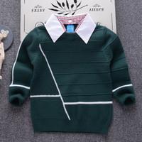 2018 قميص طوق الفتيان البلوزات الطفل شريطية البلوز حك الاطفال ملابس الخريف الشتاء الأطفال الجديد البلوزات الصبي ملابس المدرسة