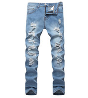 European American Style Big Hole Mens Jeans Luxury Men Skinn...