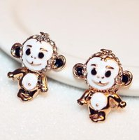Singe animal mignon Forme Boucles d'oreilles pour les femmes / filles en or blanc émail plaqué Vintage Boucles d'oreilles Accessoires Bijoux