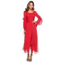 Nueva moda delgado cintura flare manga gasa vestidos volantes Vintage O cuello rojo vestido largo Vestido de playa bohemia con dobladillo asimétrico