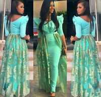 Aso Ebi Evening Dresses V- Neck Half Juliet Sheath Prom Gowns...