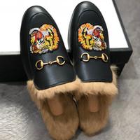 Männer Mules Wohnungen Fur Slippers Mode Loafers Stickerei Prince Tiger Schuhe Pelz Slides Muller Slipper Damen Sandale mit Box
