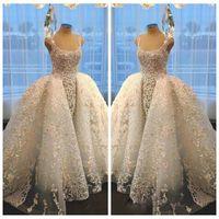 Vestidos 2021 Hermoso cuello cuadrado con apliques de encaje de oro Vestido de bola Vestidos de novia Tren desmontable Vestidos nupciales con cuentas de lujo grande