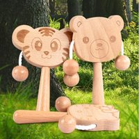 High Quality Cute Cartoon Tiger Cat Bear Wooden Rattles Baby...