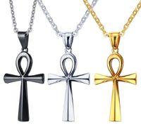 Clé de vie égyptienne en acier inoxydable, collier avec pendentif croix pour hommes, femmes, 3 couleurs, chaîne libre 20
