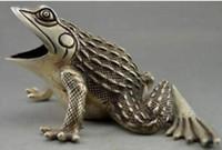 WBY النادرة مزين قديم اليدوى التبت فضة منحوتة تمثال الضفدع