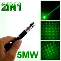 Super potente Laser Pointer Pen 2in1 Laser Puntero 5mw Potente Laser Caneta Verde Violet Lazer Verde Con Star Cap