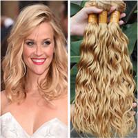 Miele Biondo Virgin indiano Water Wave tessuto dei capelli umani Bundle # 27 marrone chiaro umana Bundle Capelli offerte 3Pcs Wet ondulate estensioni dei capelli