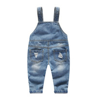 2018 Newborn Baby Overalls Casual Pocket Girl Jumpsuit Jeans Hole Button Fly Denim Jumpsuit Pants Toddler Kids 18M 2 3 4 5 años