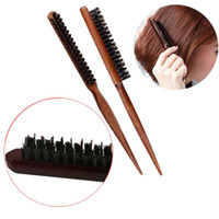 Profesyonel Domuzu Kıl Saç Elbise Tarak Kabarık Ahşap Saplı Saç Fırçası Anti Kaybı Ahşap Berber Saç Tarak Derisi Kuaför Styling aracı