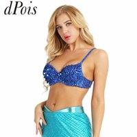 e8b81035894c4 DPOIS Fashion Women Sparkle Sequins Beading Padded Bra Top for Rave Dances  Mermaid Bra Stage Club Wear Sexy Belly Dance Costume