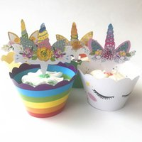 Cute Rainbow Unicorn Cupcake Cake Wrappers Toppers Baby Kids...