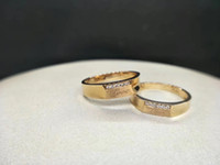 Lab Diamond Moissanite Par Ringar YellowWhite 9K, 14K, 18K Gold Free Lettering Certified Diamond D / F Färg VVS Clarity Lovers Wedding Ring