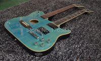 Ultimate Özel 1958 Slash İmzalı Crossroads Çift Boyun Yeşil Alev Akçaağaç Üst Elektro Gitar Akustik Gitar Koyu Siyah Geri
