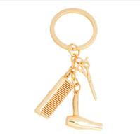 Asciugacapelli Forbici Pettine Portachiavi Oro Argento Parrucchiere Portachiavi Per donne Uomini Fashion Hairstylist Portachiavi Gioielli Regalo
