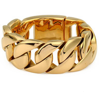 31mm Width Mens Gold Plated Super Heavy Thick 316L Stainless...