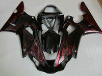 Kit de carenado de alta calidad para Yamaha YZF R1 2000 2001 Calas de llamas rojas negras YZFR1 00 01 BN66